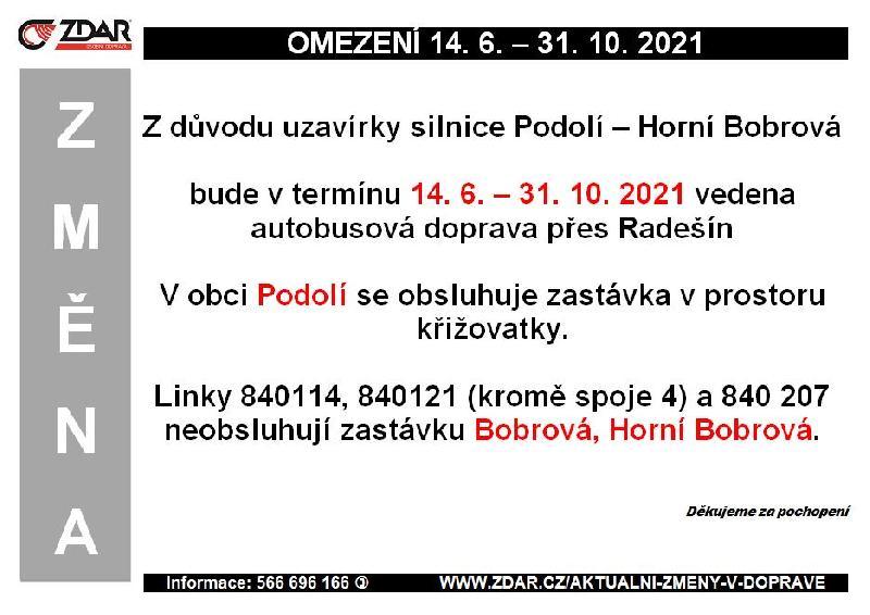 Informace od fimry ZDAR a.s. - objížďka Bobrová - Podolí
